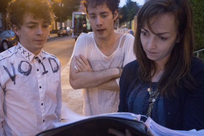 Joe and Chris consult with the script supervisor Sarah Jordan.