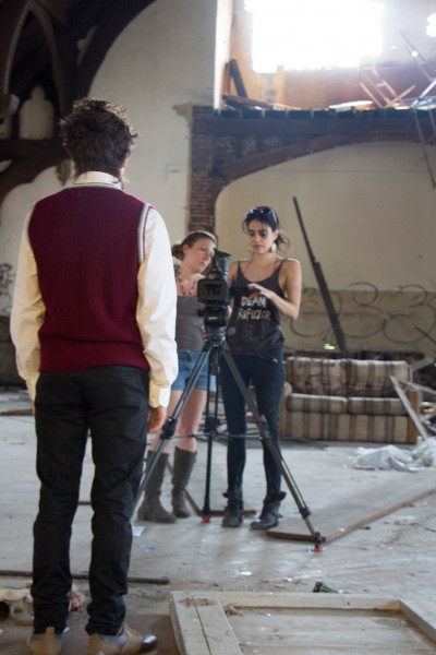Joy, Christine, and Daimon shoot the dream sequence
